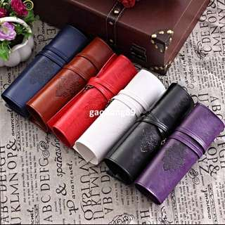 Vintage Twilight Roll Leather Make-up Cosmetic Pen Pencil Case Pouch Purse Bag (IN-STOCK)