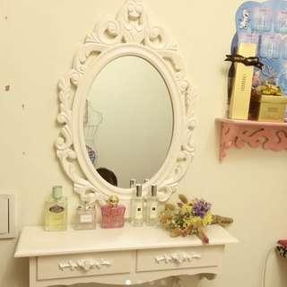 現貨 維多利亞 浪漫公主風 壁掛 化妝檯 化妝台 民宿 韓風 鏡子 化妝鏡