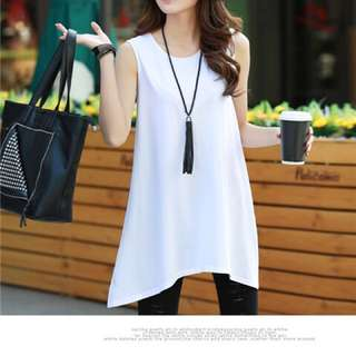 White Long Top With Flare , Long T Shirt