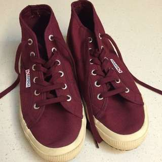 Superga High Cut Maroon UK9