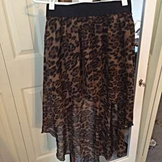 Cheetah Print High Low Skirt