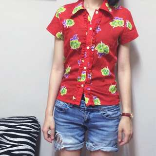 紅色印花復古短袖襯衫