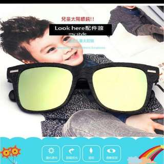 Look here配件館:韓版潮流兒童太陽眼鏡 反光彩膜小孩墨鏡 抗UV400 抗紫外線 膠框太陽鏡 遮陽 BAPE同款
