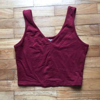 The Tinsel Rack Layla Crop Top Maroon TTR