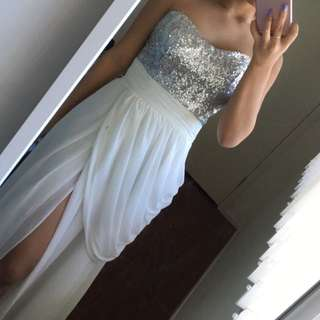 White Formal Dress With Slit On The Side