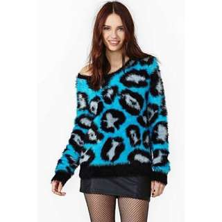 NASTY GAL ELECTRIC BLUE FLUFFY JUMPER