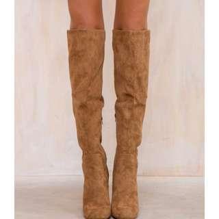 Brown tan knee high heel boots lipstick