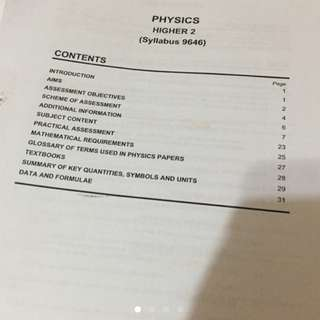 VJC H2 Physics Notes And Exam Papers