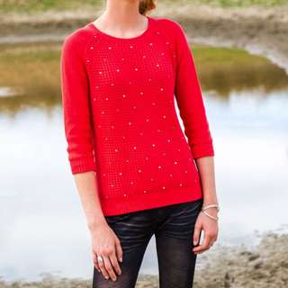 Coral Red 3/4 Jumper