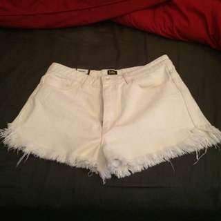 Vintage White High Top Shorts
