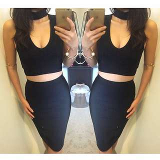 Ladies Bandage Collar Black Sexy Kookai Style Dress Size 6 8 10 12 ❤️