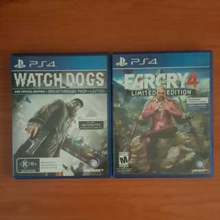 Watchdogs And Farcry 4 For PS4