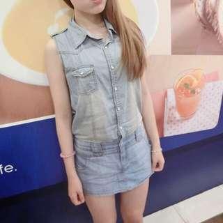 [🔻正韓]連身水洗牛仔褲裙