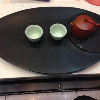 烏金石茶盤*1+阿斌師手拉坯用過~1、2次喜新厭舊又買木茶盤所以釋出鶯歌買的原價3800+1500賣4000