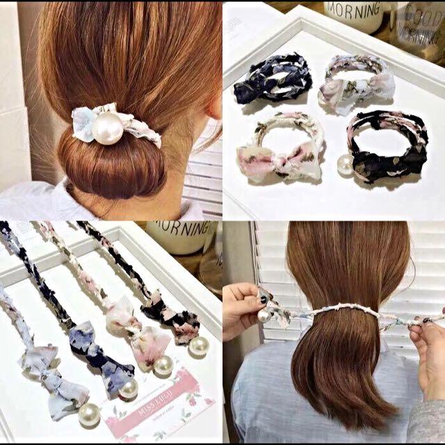 韓版珍珠蝴蝶結盤髮器