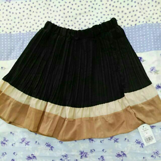 雪紡 雙色折裙