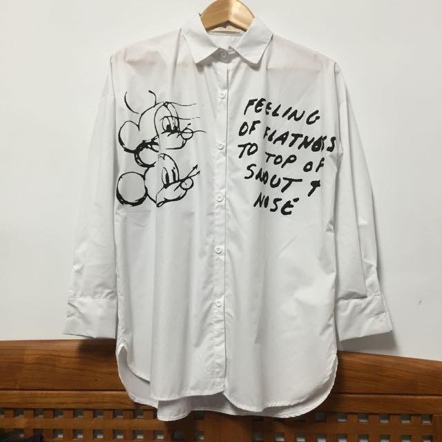 韓 來自星星的你 米奇 米老鼠 迪士尼 襯衫 白色 全智賢 又是吳海英