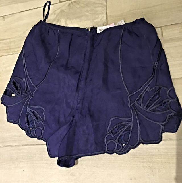 Alice Mc Call High Waisted Shorts Navy Blue