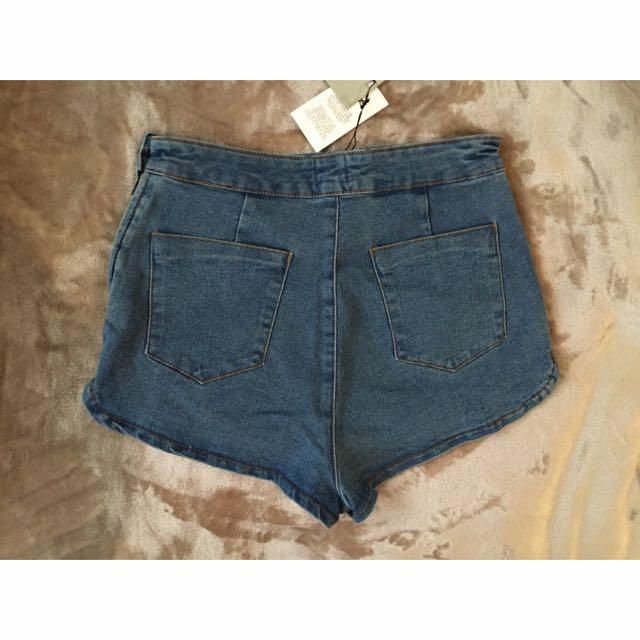 ASOS NWT Denim Wash High Waist Cheeky Shorts