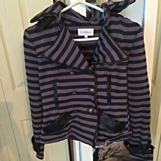 Black And Purple Striped Army Jacket