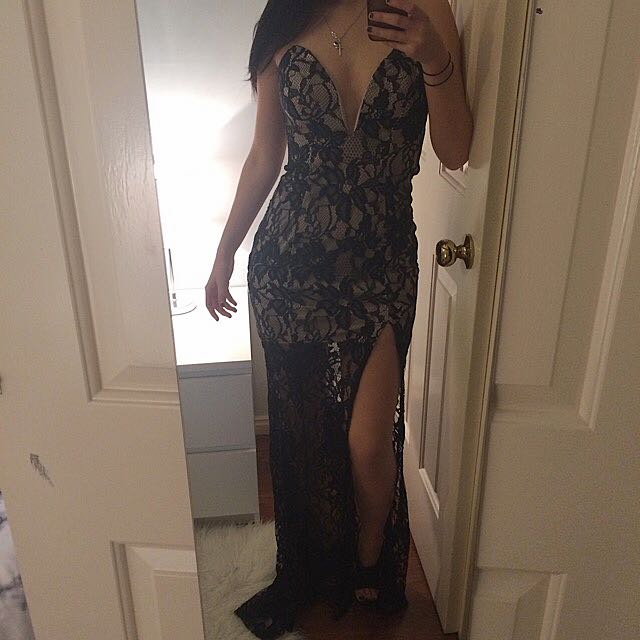 Black Lace/ Cream Dress