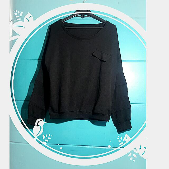 Black Pullover W/ Alternate See-through Sleeves