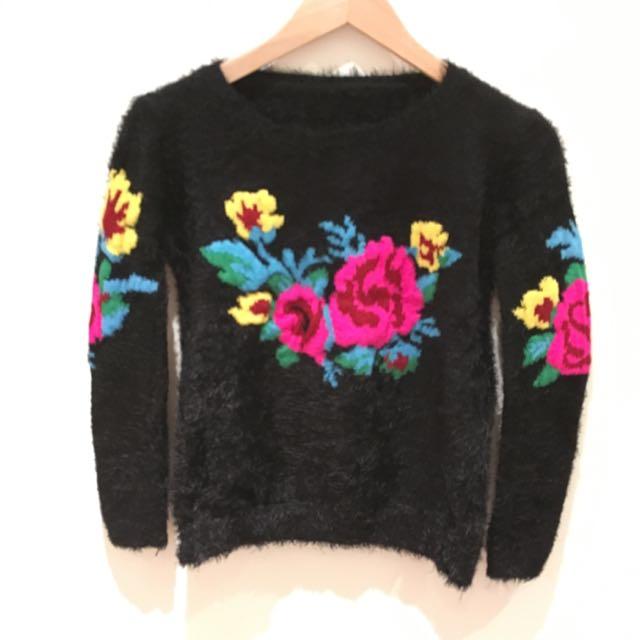Black-Floral Winter Jumper