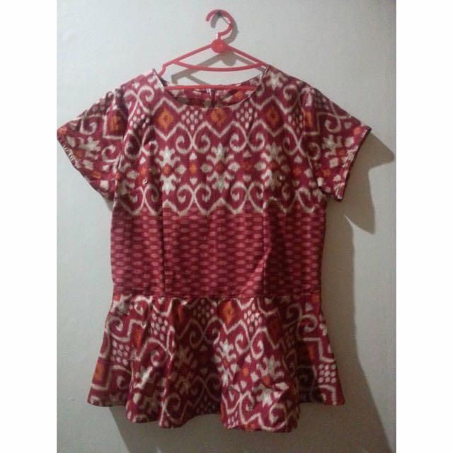 Blouse Peplum Batik (Merah)