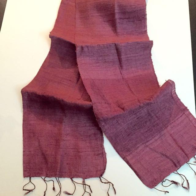 Dark Pink Linen Scarf