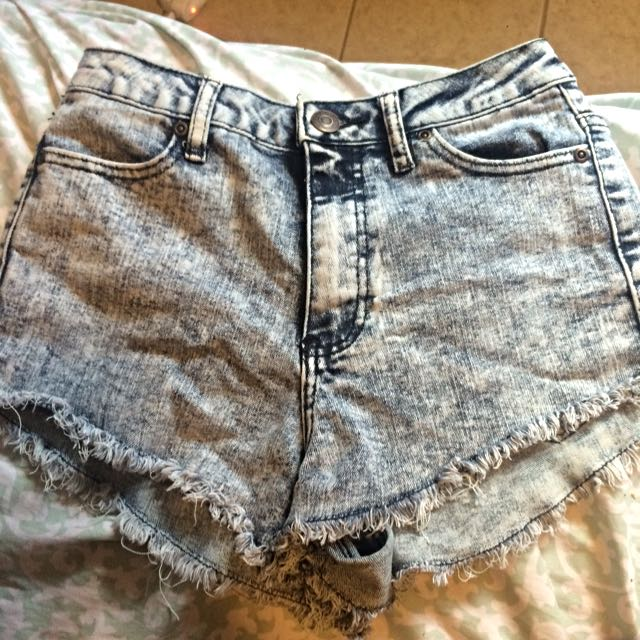 Distressed Acid Wash High Waisted Shorts