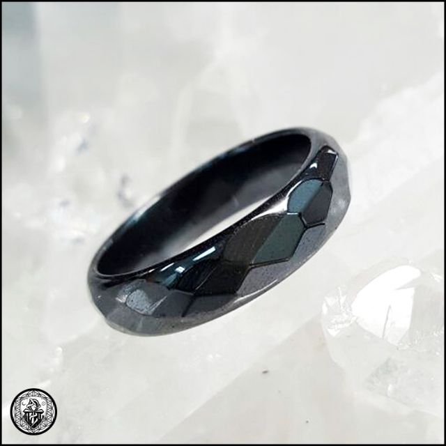 HEMATITE Black Ring Faceted Band Polished 6mm Thick NonMagnetic