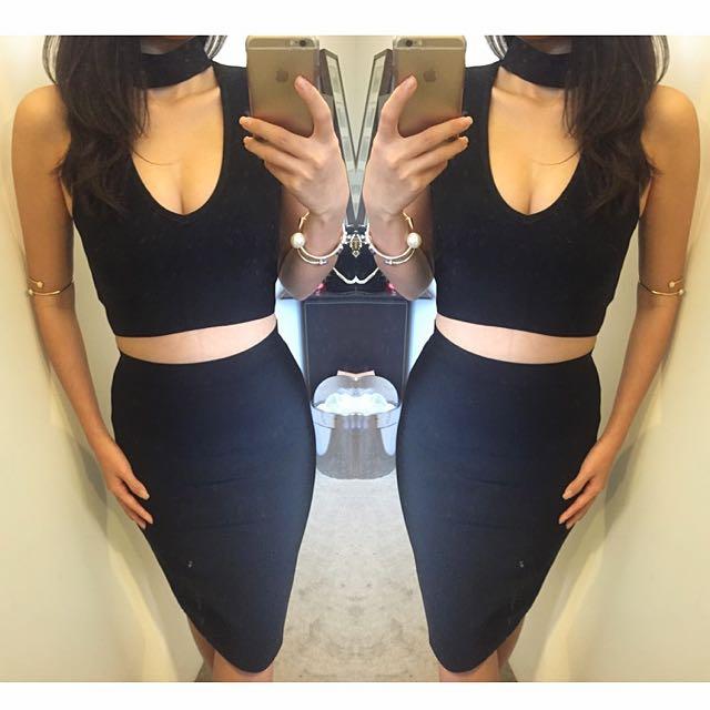 Ladies Bandage Collar Black Sexy Kookai Style Dress Size 6 8 10 12 ❤️