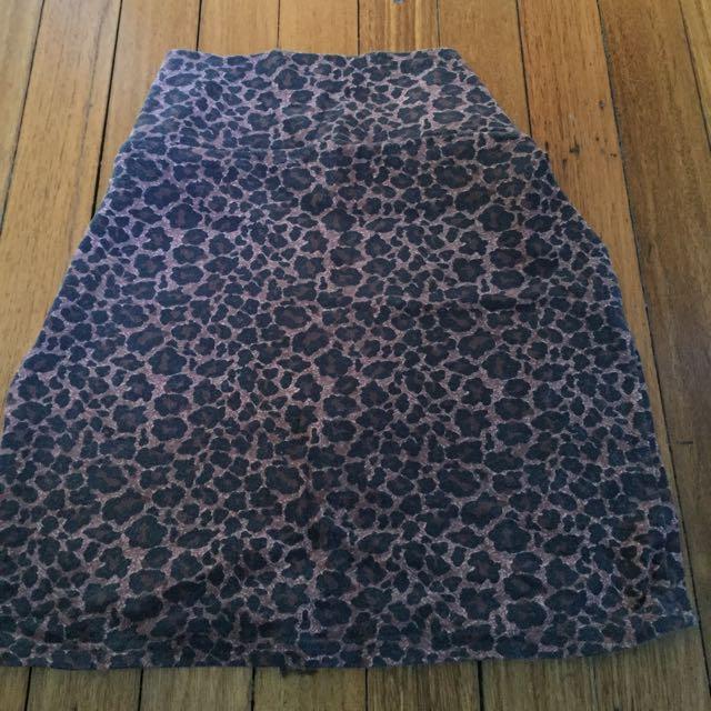 Leopard Print Midi Skirt