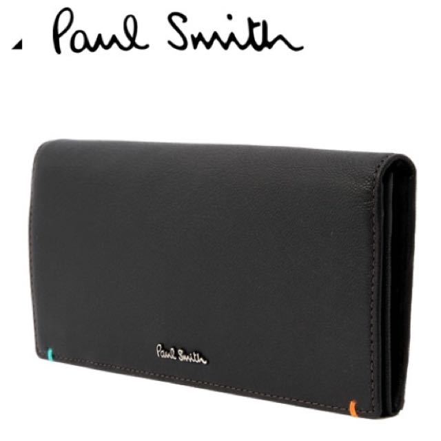 Paul Smith /黑色 /真皮兩摺長夾 錢包 皮夾