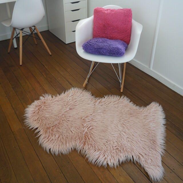 Pink Fluffy Faux Fur Rug