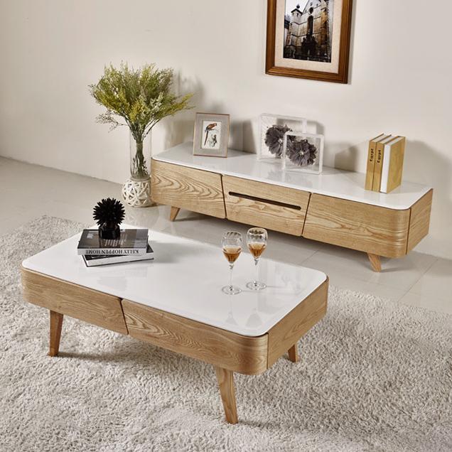 Po Minimalist Nordic Scandinavian Solid Wood Tv Console Coffee