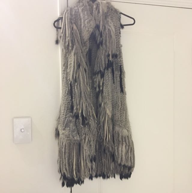 Real Rabbit Fur Vest Black /grey