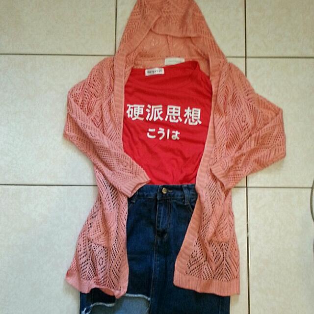 🎆針織外套+硬派思想T+短裙
