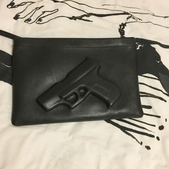 Trendy Black Gun Embossed Clutch Bag With Chain