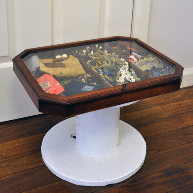 Vintage Jewelry Glass Bedside Table