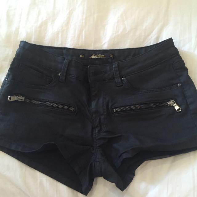 Zara Coated (wet-look) Black Shorts (XS)