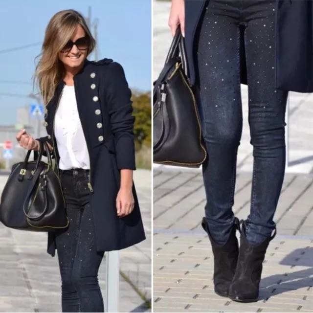 ZARA Super Skinny Dark Wash Navy Studded Stretchy Denim Jeans US 4 Size AU 7