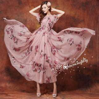 Long Doral Dress (suitable for Maternity Shoot)