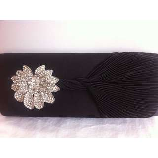 BLACK SATIN CLUTCH WITH JEWELLED FLOWER DETAIL - ONE LEFT, BRAND NEW STILL IN WRAPPING