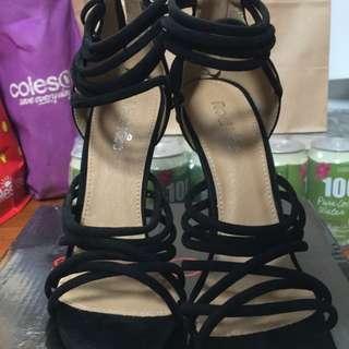 Size 5 (Aus) Strappy Black Suede Heels