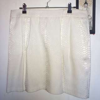 White, Printed Mini Skirt