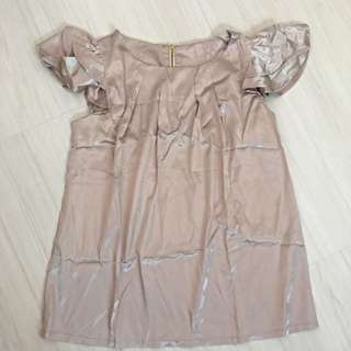Brand New Satin Silk Feel Blouse Top With Frill Sleeves OL (Size L) Dorothy Perkins Inspired