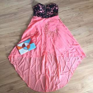 [reduced]Orange Tube Mullet Lace Dress
