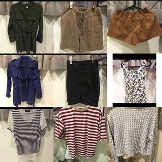 上衣/大外套/牛仔外套/褲子/短裙/短褲