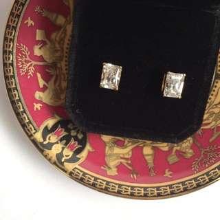 Skin&Moss復古輕珠寶設計款針式古董耳環合金古銅天然石水鑽水晶(低過敏材質,不退色)
